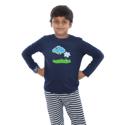 Blue Full Sleeve Boys Pyjama - Honey Bee